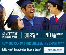 Competitive interest rates, 3 repayment options, no origination fees, now you can pay for college the smart way.  Sallie mae, smart option student loan. Get started.